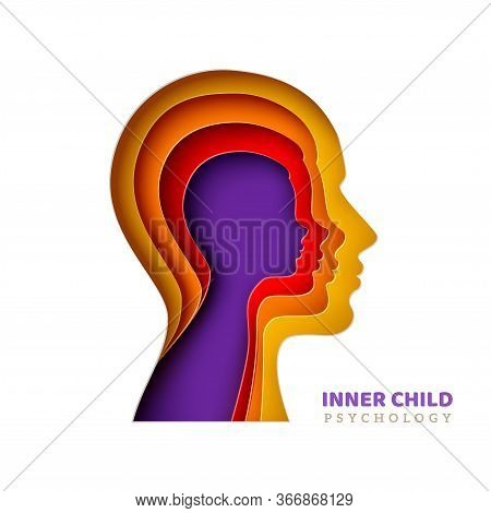 Inner Child Psychology Concept. Mans Head With Age Layers In Realistic Paper Cut Style. Vector Illus