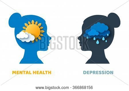 Mental Health And Depression Psychology Concept. Vector Illustration. Blue Woman Head Silhouette Iso