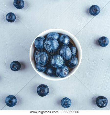 Fresh Blueberries In A White Bowl. Close Up, Top View.