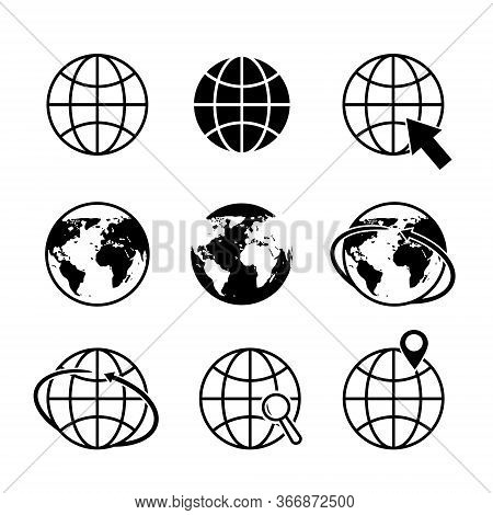 Globe Earth Icons. World Map Icon. Global Communication Simple Logo. Geography Location In Tourism T