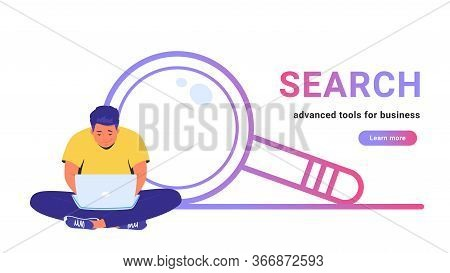 Search - Advanced Tools For Business. Flat Line Vector Illustration Of Cute Man Sitting Alone In Lot