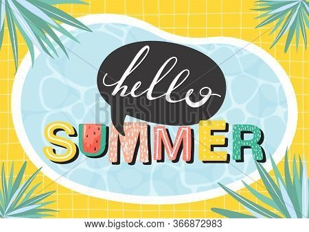 Hello Summer Banner. Beautiful Summer Poster With Water Surface, Lettering, Palm Leaves And Checkere