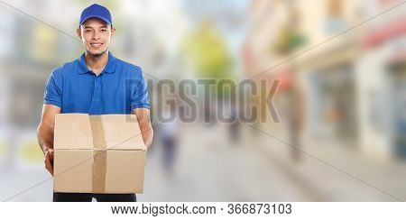 Parcel Delivery Service Box Package Order Delivering Job Young Latin Man Town Banner Copyspace Copy