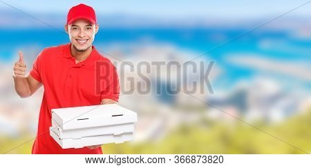 Pizza Delivery Latin Man Order Delivering Job Success Successful Smiling Deliver Banner Copyspace Co
