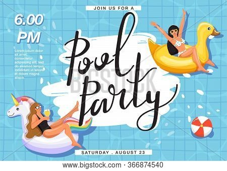 Pool Party Invitation Banner. Women Floating And Sunbathing On Inflatable Ring In Swimming Pool. Cre