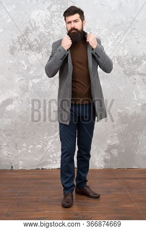 Man With Beard On Unshaven Face. Street Style. Business Lifestyle. Bearded Mature Hipster. Autumn Ma