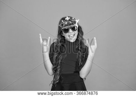 Queen Of Parties. Carnival Party. Masquerade Concept. Kid Wear Sunglasses And Crown. Event And Enter