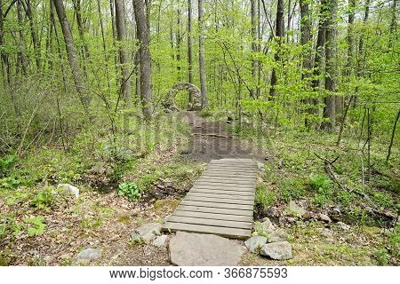 A Man-made Wooden Walkway Over A Small Stream In A Wooded Area.  The Path Leads To A Rounded Stone S