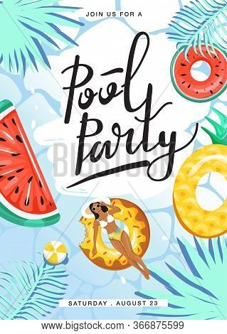 Pool Party Invitation Poster. Woman Floating And Sunbathing On Inflatable Ring And In Swimming Pool.