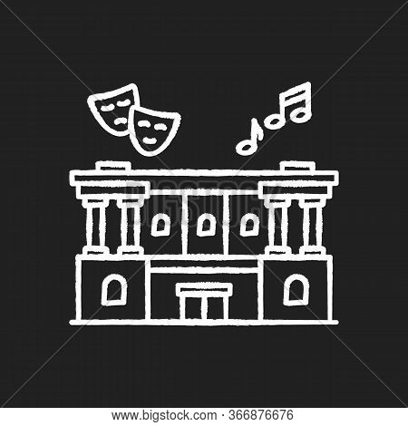 Cultural Center Chalk White Icon On Black Background. Theater Performance. Opera Modern Building Ext