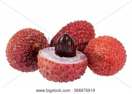 Fruits Of Red Lychee ( Litchi Chinensis) Isolated On White Background, Whole And Half With Seed,  Cl