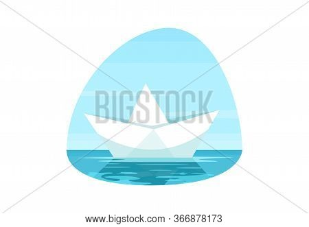 Paper Boat Semi Flat Vector Illustration. Origami Water Vessel. Calm Sailing. Solitude On Seascape.
