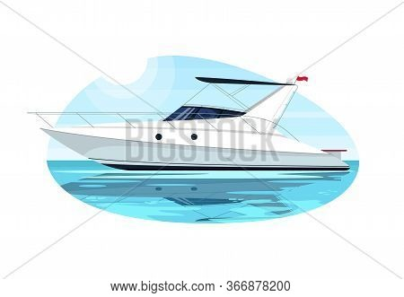 Luxury Speedboat Semi Flat Vector Illustration. Fast Boat For Cruise. Private Yacht For Summer Recre