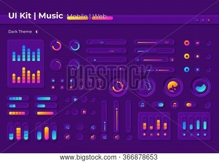 Music Ui Elements Kit Ui Elements Kit. Multimedia Player Settings Isolated Vector Icon, Bar And Dash