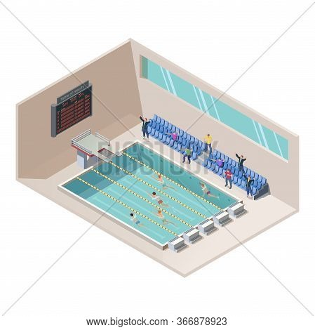 Vector Isometric Illustration Of Swim Race In Water Pool. Swimming Activity Sport Competition Concep