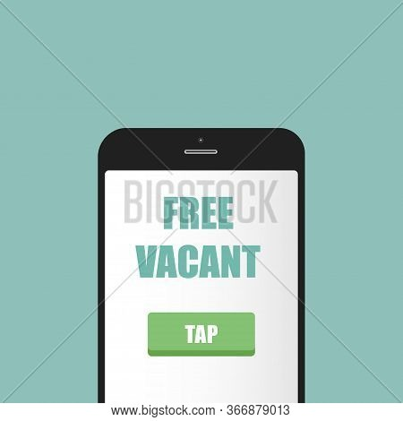 Businessmen Hold Sign Vacant In Hand Above Office Chair. Business Hiring, Recruitment, Human Resourc