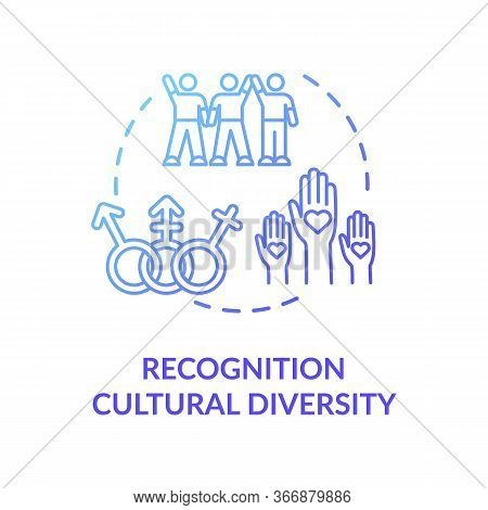 Cultural Diversity Recognition Blue Concept Icon. Multi Racial Group. Gender Equality In Society. Mu