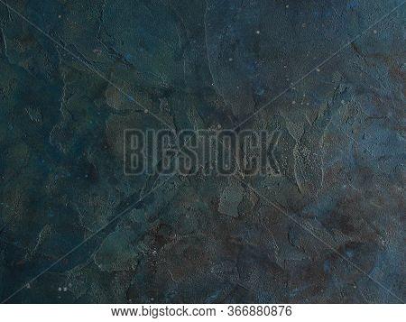 Abstract Grunge Decorative Dark Blue Grey Stucco Wall Background. Gloomy Rough Smear Texture. Web Ba