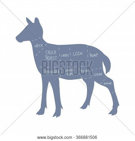 Cute French Farmhouse Deer Butcher Chart Vector Clipart. Hand Drawn Shabby Chic Style Country Farm K