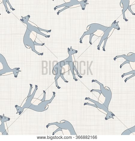 Seamless French Farmhouse Deer Pattern. Farmhouse Linen Shabby Chic Style. Hand Drawn Rustic Texture