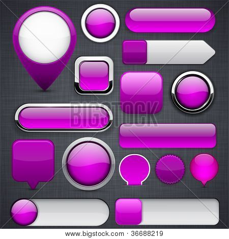 Blank purple web buttons for website or app. Vector eps10.