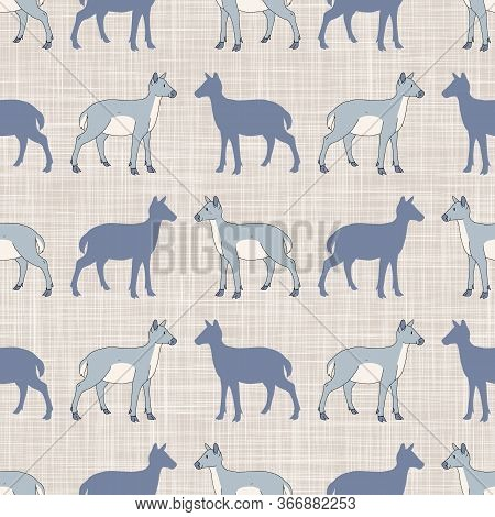Seamless French Farmhouse Deer With Silhouette Pattern. Farmhouse Linen Shabby Chic Style. Hand Draw