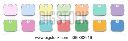 Colorful Personal Scales With Weight Display From 10 To 140. Colored Scales Set With Silver Frames.