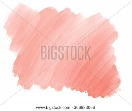 Watercolor Gradient Pink Red Backdrop Background For Design. Hand Drawn Abstract Stain Of Reddish Wa
