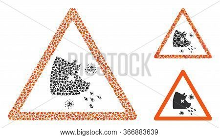 Collage Swine Flu Warning Icon Organized From Rugged Parts In Variable Sizes, Positions And Proporti