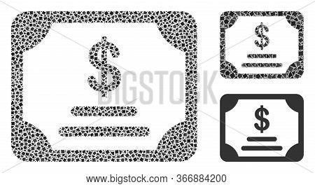 Mosaic Financial Bond Icon Constructed From Rough Spots In Different Sizes, Positions And Proportion