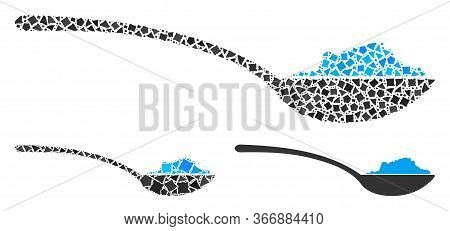 Mosaic Powder Spoon Icon Composed Of Rough Pieces In Variable Sizes, Positions And Proportions. Vect