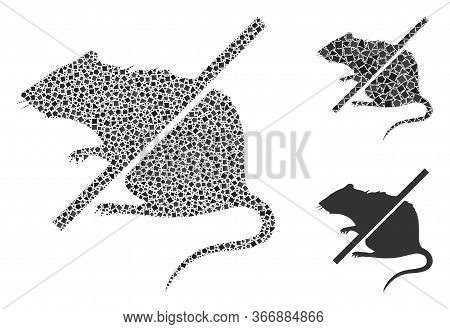 Collage Stop Rats Icon Composed Of Ragged Spots In Random Sizes, Positions And Proportions. Vector R
