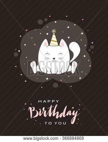 Pink Lettering Happy Birthday On Black Greeting Card In Cartoon Style. Birthday Image. Happy Kitty I