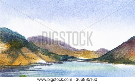 Watercolor Hand Drawn Summer Landscape Of Sevan Lake In Armenia. Beautiful Pure Pond With High Mount