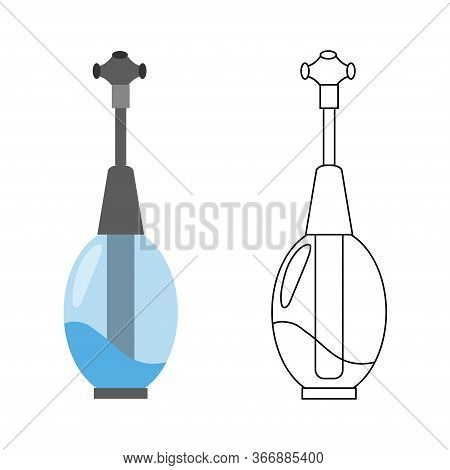 Flat Vector Icon Of Water Filter. Color And Sketch Style. Water Filter At Home Component For Clean W