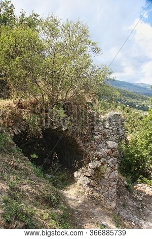 Ruins Of Mystra. Dome Vault Ingrown Into The Ground. Peloponnese. Greece