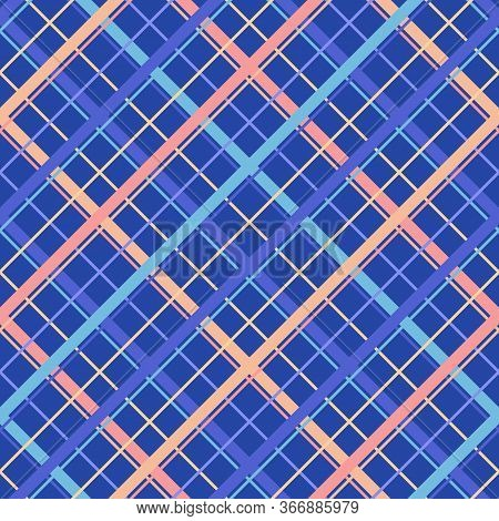 Vector Seamless Pattern With Diagonal Cross Lines, Stripes, Square Grid, Lattice. Simple Tartan Plai