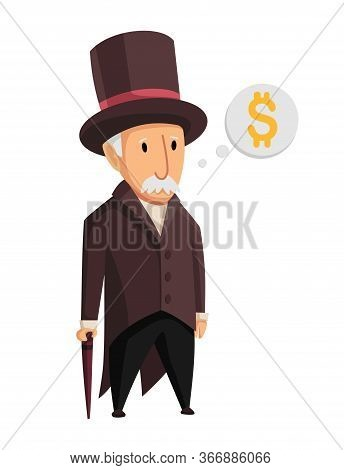 Image Of A Funny Old Man Capitalist In A Black Suit And Hat Standing With A Cane In His Hands On A W