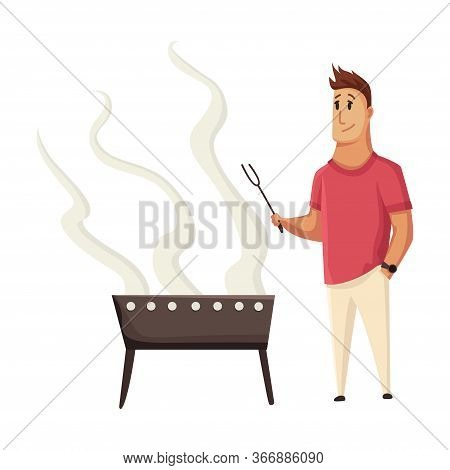 Bbq Party. Man With A Barbecue Grill. Picnic With Fresh Food Steak And Sausages. Happy Smiling Man C