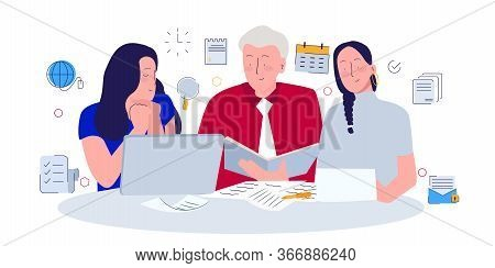 Manager Evaluating Data Shown By His Female Staff. Modern Flat Cartoon Style.