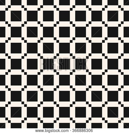 Vector Geometric Seamless Pattern With Square Grid, Net, Grill, Tiles. Abstract Black And White Text