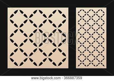 Laser Cut Panel. Elegant Vector Stencil With Abstract Geometric Pattern, Grid Ornament In Oriental S