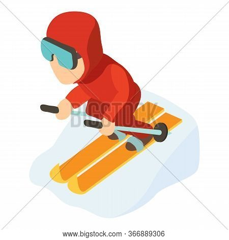 Skier Man Icon. Isometric Illustration Of Skier Man Vector Icon For Web