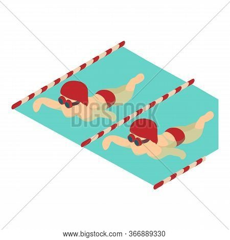 Swimmer Man Icon. Isometric Illustration Of Swimmer Man Vector Icon For Web