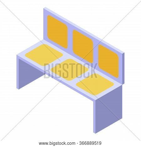 Metro Train Chairs Icon. Isometric Of Metro Train Chairs Vector Icon For Web Design Isolated On Whit