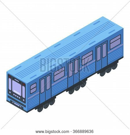 Subway Train Wagon Icon. Isometric Of Subway Train Wagon Vector Icon For Web Design Isolated On Whit