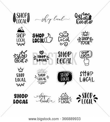 Local Shop Set Of Hand Drawn Doodles Badges, Logo, Icons. Handwritten Modern Vector Brush Lettering