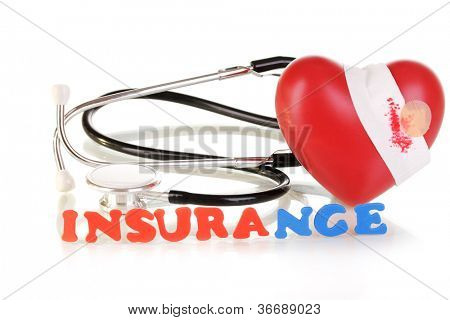 concept of health insurance isolated on white poster