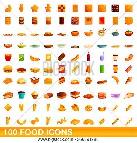 100 Food Icons Set. Cartoon Illustration Of 100 Food Icons Vector Set Isolated On White Background