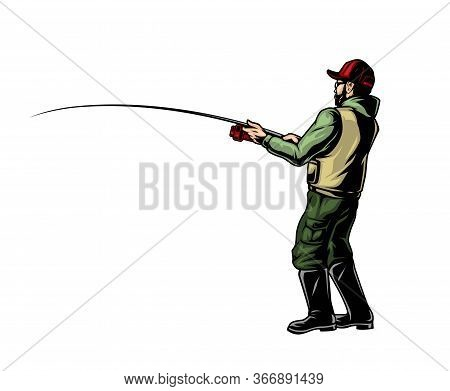 Angler Holding Fishing Rod Colorful Concept In Vintage Style Isolated Vector Illustration
